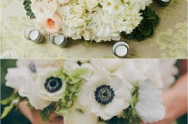 Sweet White Anemone Bridal Bouquet and Centerpiece