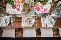 Vintage China, Rustic Farm Table, Gorgeous Floral