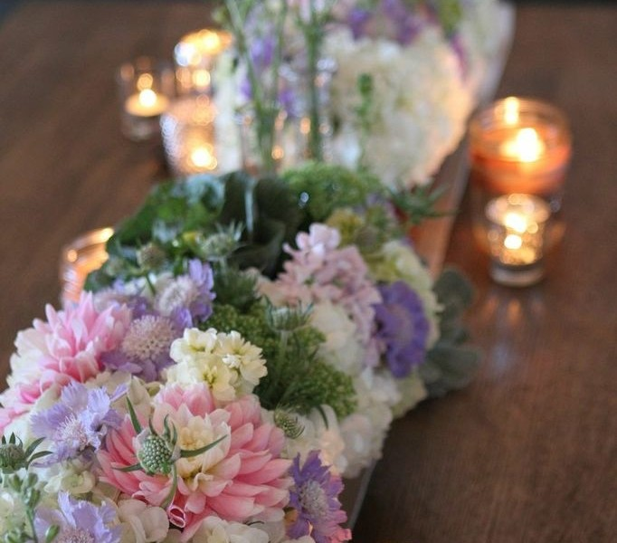 Sweet Pastels, Succulents, Scabiosa, and Dahlia.
